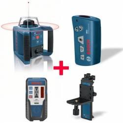 Set nivel láser giratorio Bosch GRL 300 HV + Mando RC1 + Soporte WM 4 + Receptor LR 1 Profesional