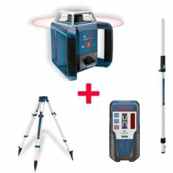Set nivel láser giratorio Bosch profesional GRL 400 H + Receptor LR 1 + Tripode BT 170 HD + Regla GR 240