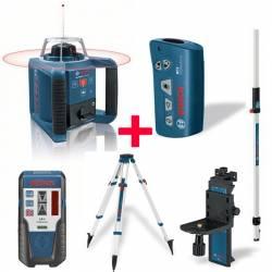 Set nivel láser giratorio Bosch prof. GRL 300 HV + Mando RC1 + Soporte WM 4 + Receptor LR 1 + Tripode BT 170 + Regla GR 240