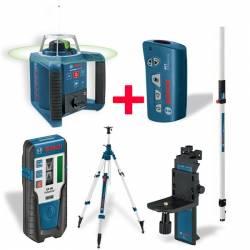Set nivel láser giratorio Bosch prof.GRL 300 HVG + Mando RC1 + Soporte WM 4 + Receptor LR 1 + Tripode BT 300 + Regla GR 240