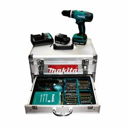 Taladro percutor a batería Li-Ion Makita HP347DWEX1 14,4V maletín+acc.