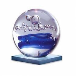 Globo de cristal con espiral azul
