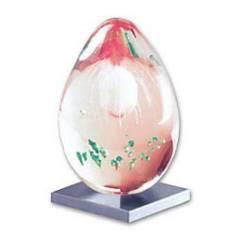 Huevo de cristal transparente con gotas