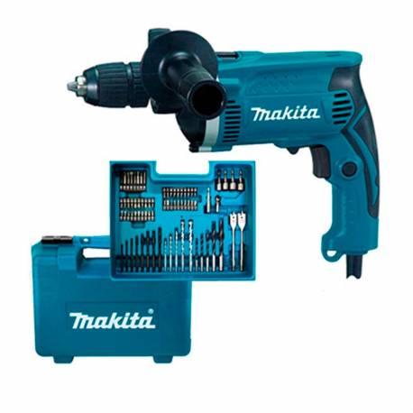 HP1631KX3 Taladro percutor Makita 710W 13 mm con maletín 74 accesorios