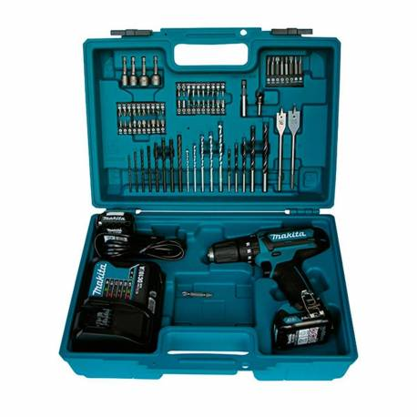 HP331DSAX1 Taladro percutor Makita 10,8V Litio 2Ah con 70 accesorios