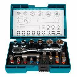 B-54081 Set de puntas + llave de carraca 21 piezas Makita