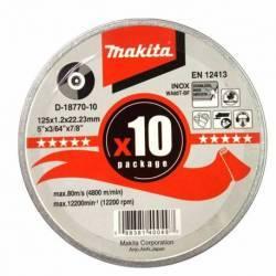 D-18770-10 Disco Makita de corte extrafino inoxidable 125 mm x 1.2 mm