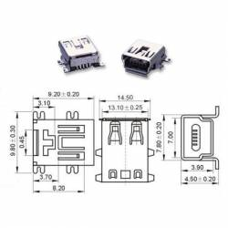 Conector mini usb B hembra 5 pines.