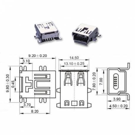 CONECTOR MINI USB B HEMBRA 5 P
